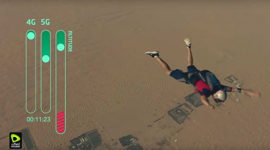 Dani Roman dives from 15,000 ft. to test Etisalat 5G Video